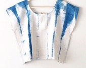 indigo summer shirt, gypsy summer top, blue cotton tunic, Boxy crop top, trendy boho clothing, womens boho top, minimalist top, shibori top