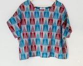 Ikat geometric kimono top, blue and red handwoven cotton boxy top, sustainable relaxed fit top, over sized hand woven cotton kimono top