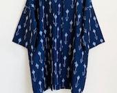 Ikat blue and white handwoven cotton kimono jacket, deep blue cotton long duster, geometric cotton kimono, blue cotton kimono cardigan