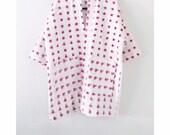 Ikat cotton kimono jacket, organic cotton long duster, geometric cotton kimono, red and cream cotton coat, hand woven cotton kimono jacket