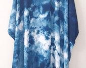Made to Order - Plus size blue Shibori Poncho, diagonal pattern, plus size beach cover up, shibori poncho, Blue and white kimono plus size