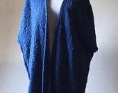 Reserved for Rachiel -- indigo blue kimono, handwoven kimono, indigo dyed kimono, blue kimono cardigan, indigo heavy weight cardigan