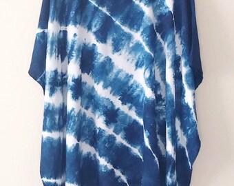 11fdd82d058fe Blue shibori kimono, maternity shirt, swimsuit cover up, yoga cover up,  summer poncho, Tie Dye kimono, summer dress, festival beach clothing