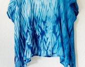 Silk party wear tunic, hand dyed silk summer tunic, blue shibori tunic, Boxy silk long top, over-sized women poncho,blue silk chiffon tunic