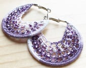 purple hoop earrings, purple round hoop earrings with beads, large crochet hoops, large hoop earrings gift set, purple beaded hoop earrings