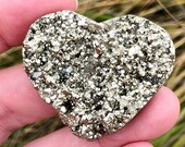 Pyrite Heart Open Geode with Sparkly Nuggets! Beautiful Shiny Pyrite Geode Flat Heart! Stone of Abundance