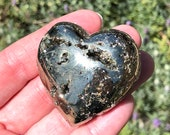 Pyrite Open Geode Heart! Openings of Sparkly Nuggets! Beautiful Shiny Pyrite Geode Heart! Abundance Stone