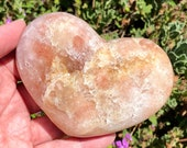 So Lovely Pink Amethyst Heart with Druzy Crystals! Peachy Pink and  White Amethyst Heart! 361 g Gorgeous Peach Pink Amethyst from Brazil!