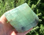 Large Green Calcite Rhombohedron! Green Calcite with Multiple Colors for Calming and Clearing! Healing Crystals