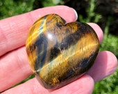 Tiger Eye Chatoyant Puff Heart! Mineral Display Protection Stone Healing Crystals