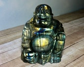 Labradorite Laughing Buddha! Buddha Statue carved from Labradorite! Buddha of Abundance and Wealth! Mineral Display, Polished Rock