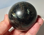 Arfvedsonite! Beautiful Blue and Silver Flash Arfvedsonite Sphere! 55 mm Arfvedsonite!