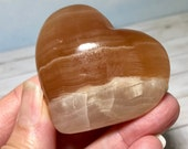 Lovely Caramel Calcite Heart! Soft Peach Calcite puff heart! Calming and Clearing! Heart Shaped Stone, Mother's Day Gift