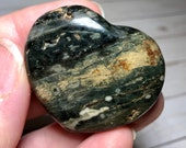 Ocean Jasper Heart! Lovely Green and Brown with orbs Ocean Jasper Heart! Stone Heart! Healing Crystals
