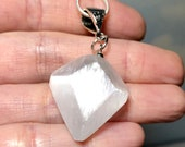 Selenite Necklace! Beautiful Light Reflecting Carved Selenite! Natural Stone Jewelry, Healing Crystals