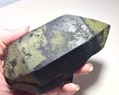 Rare Black Quartz! Deep Black Morion Quartz w/ Epidote & Feldspar! Black Quartz w/ Epidote Magic! Collector Healing Crystal,