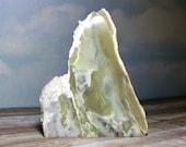 New Discovery! Lime Swirl Noble Serpentine Flat Base Slab! Beautiful Healerite Noble Serpentine Washington State! USA Collector Stone
