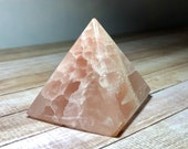 Salmon Calcite Pyramid! Salmon Calcite with lovely patterns for Calming and Clearing!