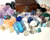 Mystery Treasure Chest! Five Healing Stones / Crystals, Sage Leaves in a Brass and Wood Treasure Box! Great Gift Idea!