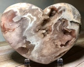 Superb Pink Amethyst Heart with Druzy Crystals! Pink, White & Lavender Pink Amethyst Heart! 511g Gorgeous Unusual Pink Amethyst from Brazil!