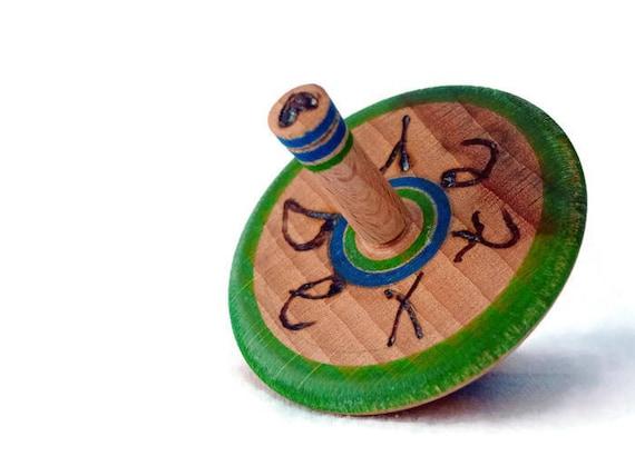 Toupie - personnalisé, jouet en bois fait à la main, unique + cadeau sac