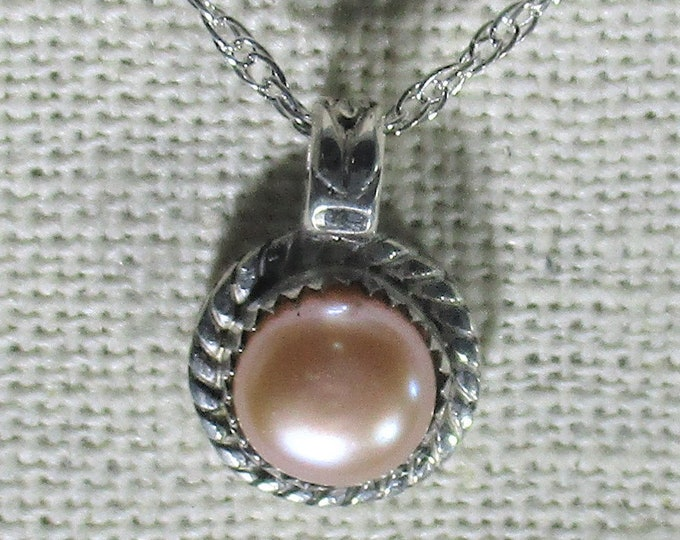 genuine 7.5mm freshwater cultured pink pearl sterling silver pendant necklace