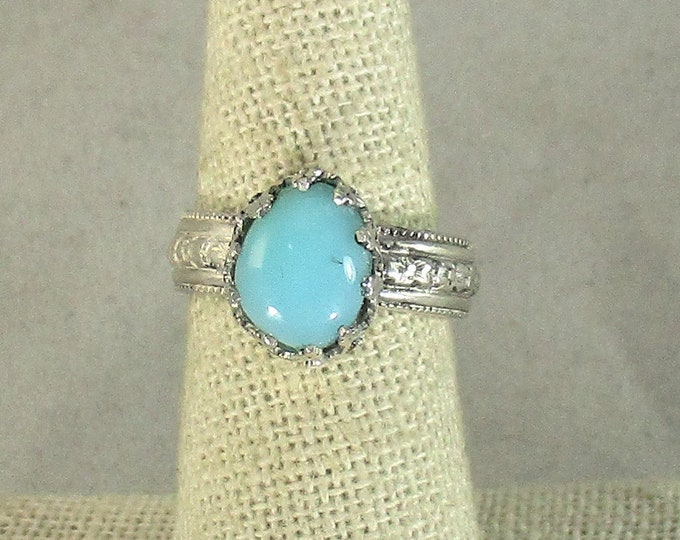 genuine  Peruvian blue opal gemstone handmade sterling silver solitaire ring size 7
