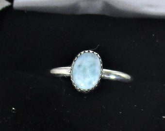 Genuine larimar gemstone handmade sterling silver statement ring size 7 1/4