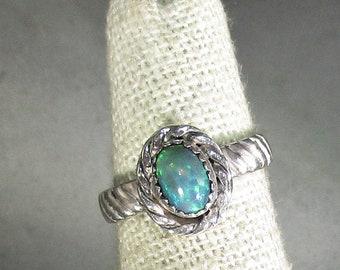 genuine smoked Ethiopian opal gemstone handmade sterling silver ring size 5