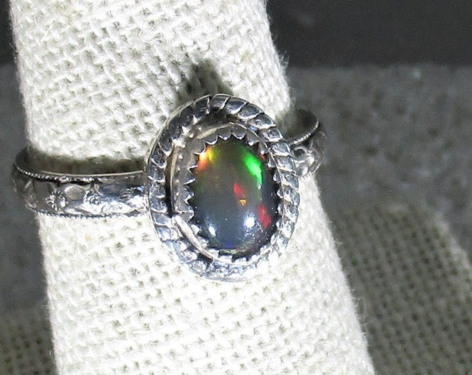 Genuine smoked Ethiopian opal gemstone handmade sterling silver ring size 7 1/4