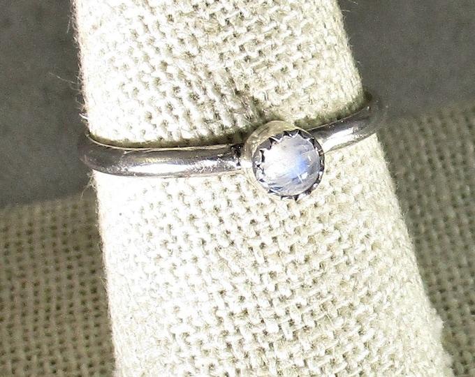 genuine rainbow moonstone gemstone handmade sterling silver stacking ring size 9 3/4