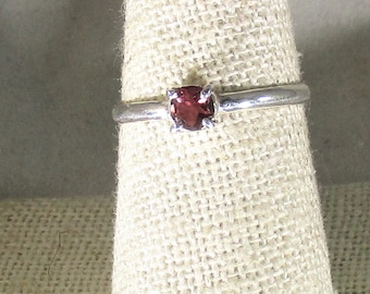 genuine pink tourmaline gemstone handmade sterling silver solitaire ring size 8 1/4