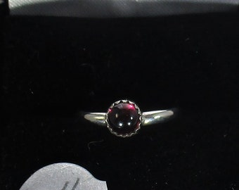 Genuine Mozambique garnet handmade sterling silver stacking ring size 4 1/2