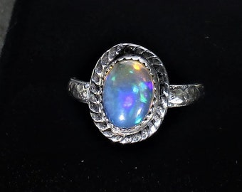 genuine Ethiopian opal gemstone handmade sterling silver statement ring size 6