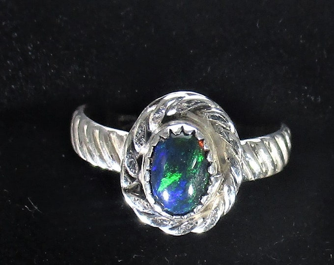 genuine Ethiopian smoked opal gemstone handmade sterling silver statement ring size 6