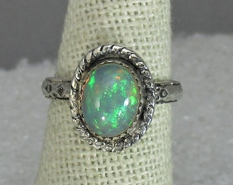 genuine Ethiopian opal gemstone handmade sterling silver statement ring size 5