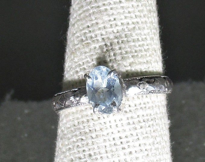 blue aquamarine gemstone handmade sterling silver solitaire ring size 6 1/2