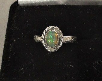 genuine Ethiopian opal gemstone handmade sterling silver solitaire ring size 6
