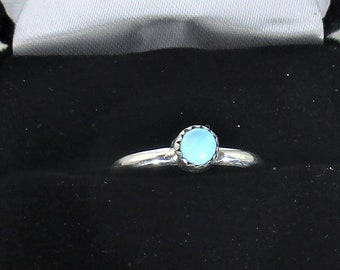 genuine Arizona turquoise gemstone handmade sterling silver stacking ring  size 6 1/4