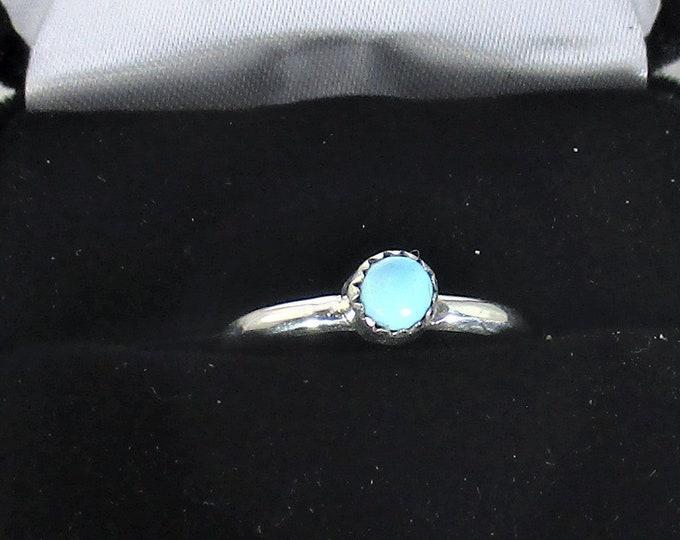 genuine Arizona turquoise gemstone handmade sterling silver stacking ring  size 6 1/4
