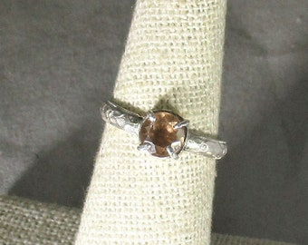 genuine peach morganite gemstone handmade sterling silver solitaire ring size 6 1/2
