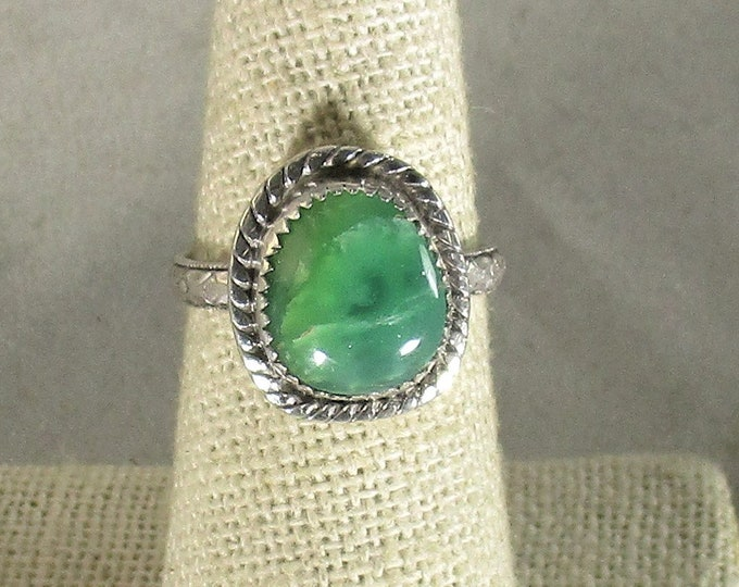 genuine Tanzanian green opal gematone handmade sterling silver statement solitaire ring size 7
