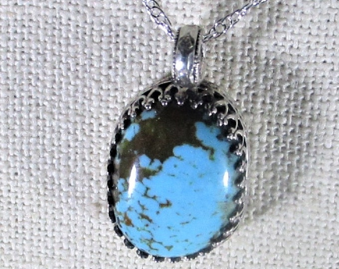 genuine old stock high blue Kingman turquoise handmade sterling silver pendant necklace