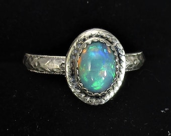 genuine Ethiopian opal handmade sterling silver statement ring size 7 1/2