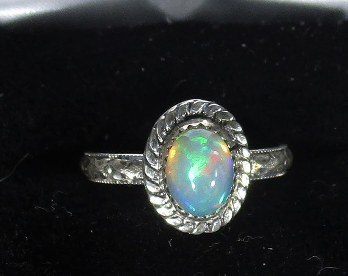genuine Ethiopian opal gemstone handmade sterling silver statement ring size 7 3/4