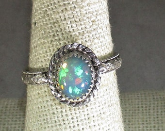 genuine Ethiopian opal gemstone handmade sterling silver statement ring size 8