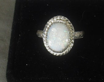 genuine Austrailian opal gemstone handmade sterling silver statement solitaire ring size 7