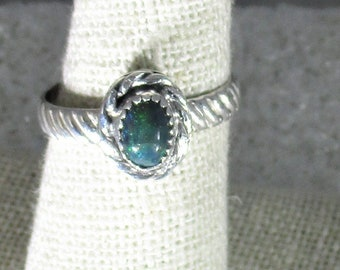 genuine Ethiopian smoked opal gemstone handmade sterling silver statement ring size 7