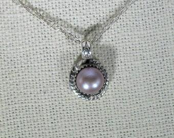 genuine freshwater cultured lavender pearl handmade sterling silver pendant necklace