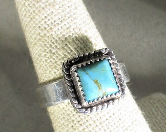 genuine Kingman turquoise gemstone handmade sterling silver statement ring size 8